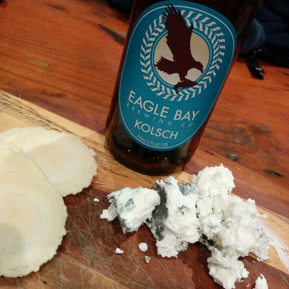 Eagle Bay Kolsch with Meredith Dairy Chevre (goat's cheese)