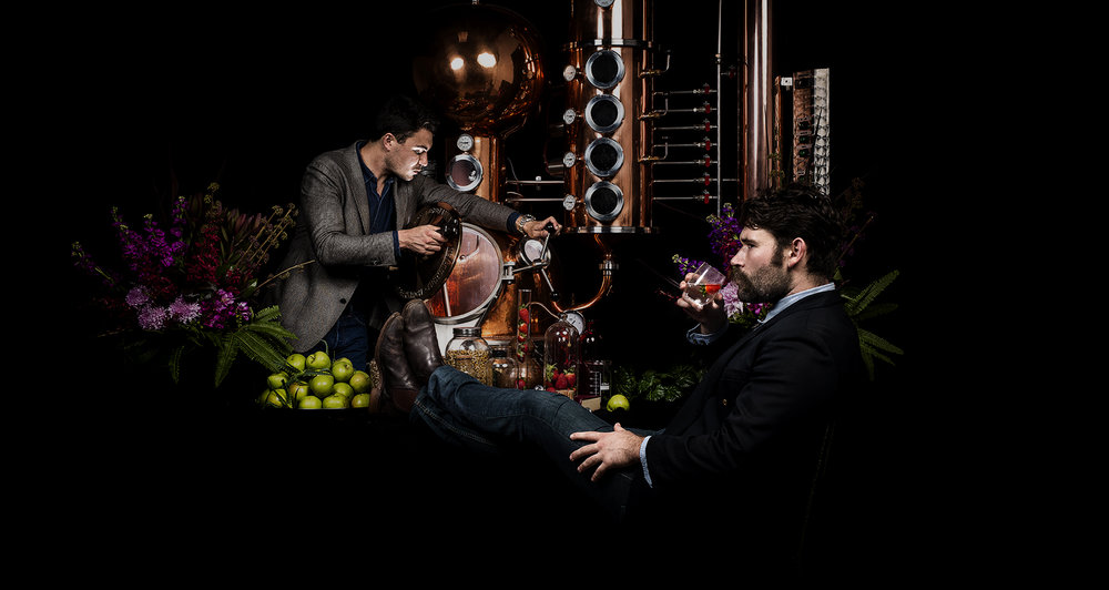 Poor Toms Gin co-owners Jesse and Griff  distilling over 100 different ingredients indivudally.