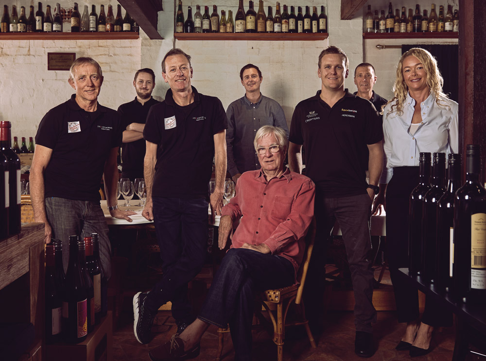 On the Vine   Wine Panel (L-R): Steve Perry, Grattan Joyce, Stef Biagi, Anthony Cooper, Rod Properjohn (seated), Terry Stoner, Michael Dickson, Jo Cammack