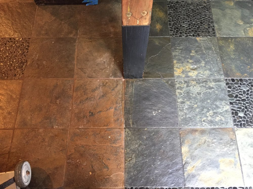 This customer spent over a week trying to clean and seal the left side portion of his slate himself