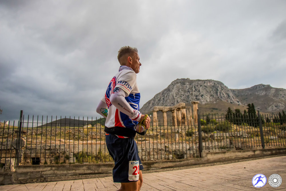 Running by the ruins at Ancient Corinth. Pic Spartathlon