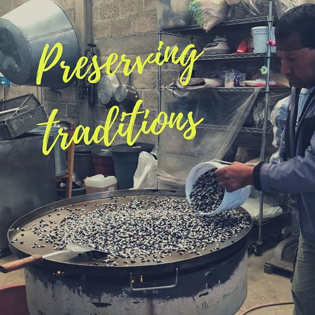 Pinole is a traditional food made of blue corn. Azure Foods helps preserve traditional cooking techniques of the Aztecs. Our indigenous farmers prepare pinole by hand, on a comal, a large flat grill for toasting corn!  #continuethelegacy @bluepinole #bluecorn #ancientfood #runners #tarahumara #running #superfood #food #farmers #farming #harvest  #Mexico #volcano #nature #force #eliteathletes