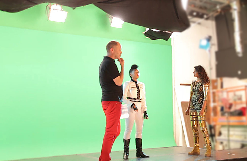 Ben on set with MIA and Janelle Monáe