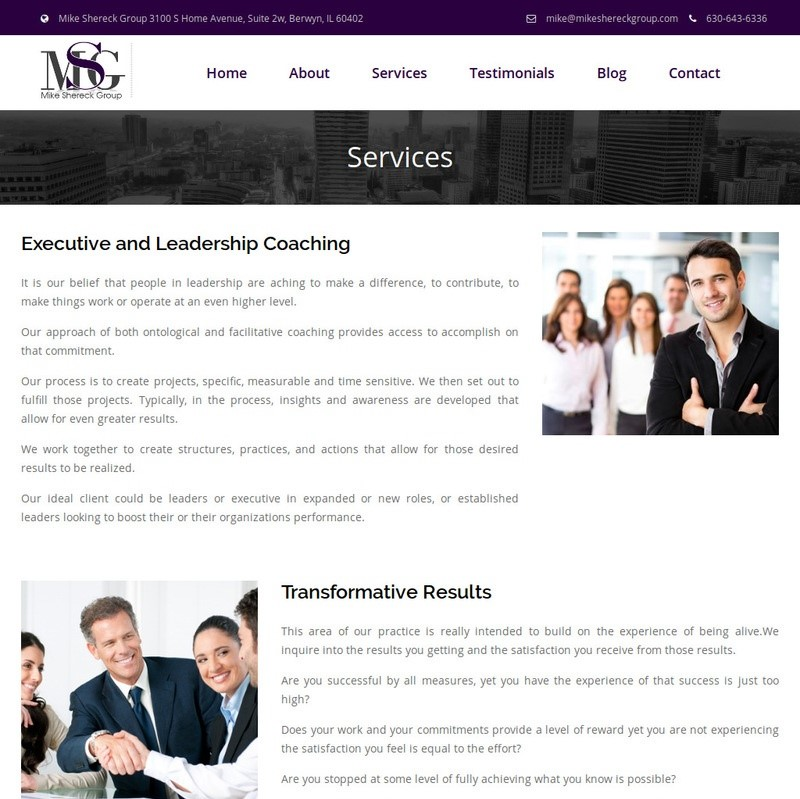 Mike's Services Page Before
