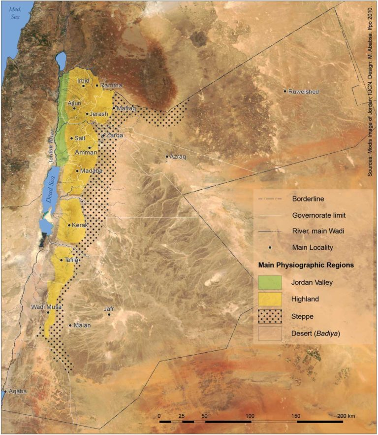 Map of Jordan's Agricultural Zones by Dr Myriam Ababsa