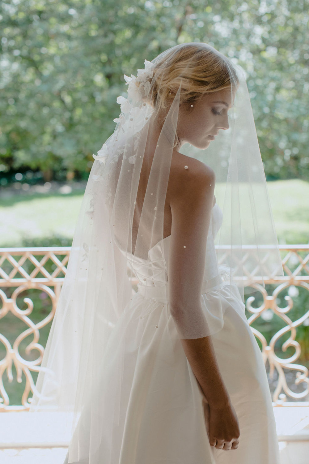 WEEPING CHERRY | EMBELLISHED SHORT WEDDING VEIL by TANIA MARAS