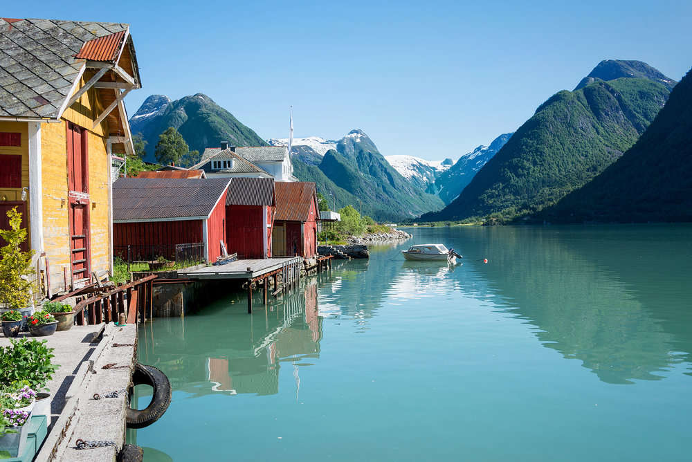 Beautiful Fjaerland - the Glacier village under Jostedalsbreen by Sognefjorden in Norway (Shutterstock)