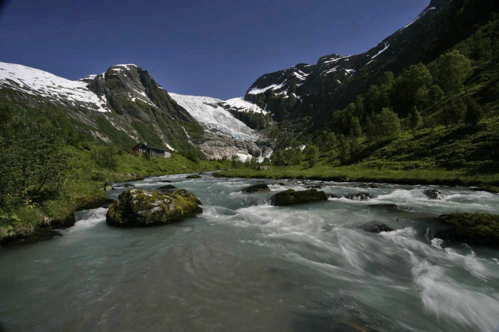 River fishing under the glacier.