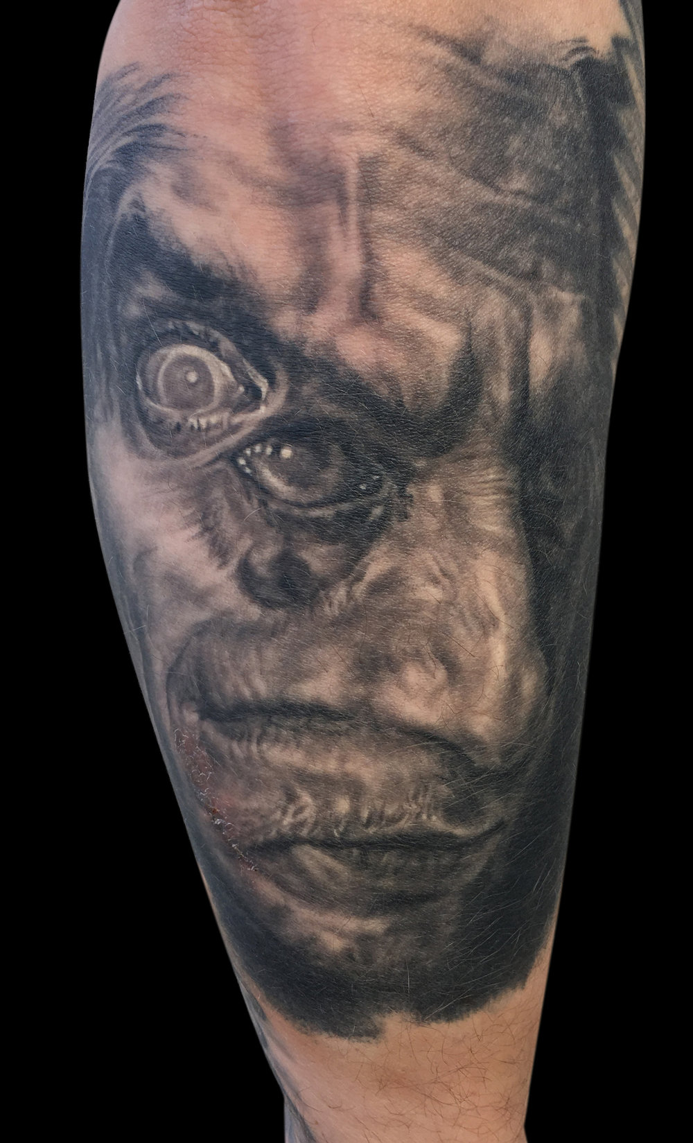 Black and Grey Alter Ego Portrait Tattoo, (healed)
