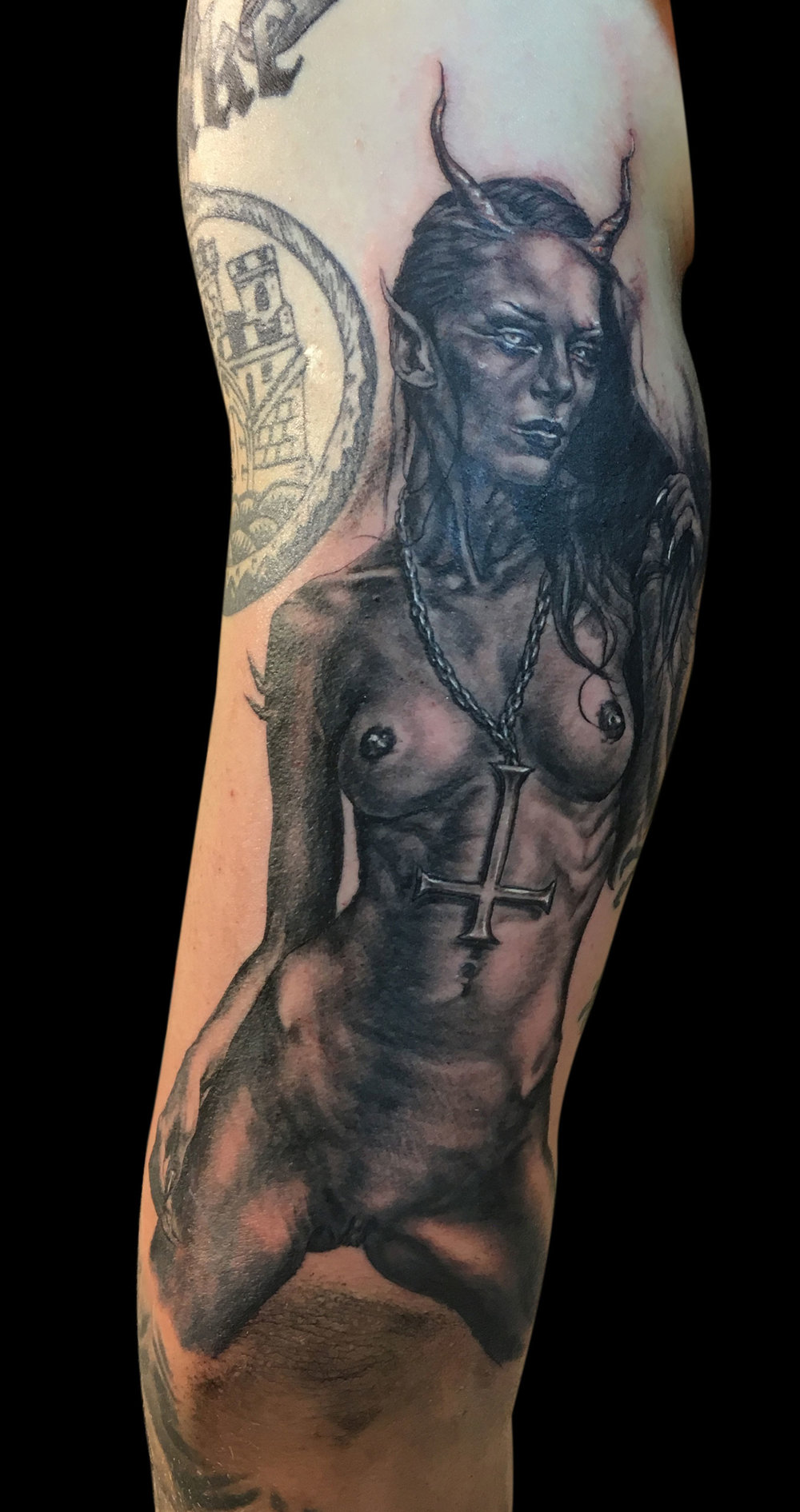 Black and Grey 'Blekk Metal' Demon Chick Tattoo, (fresh)