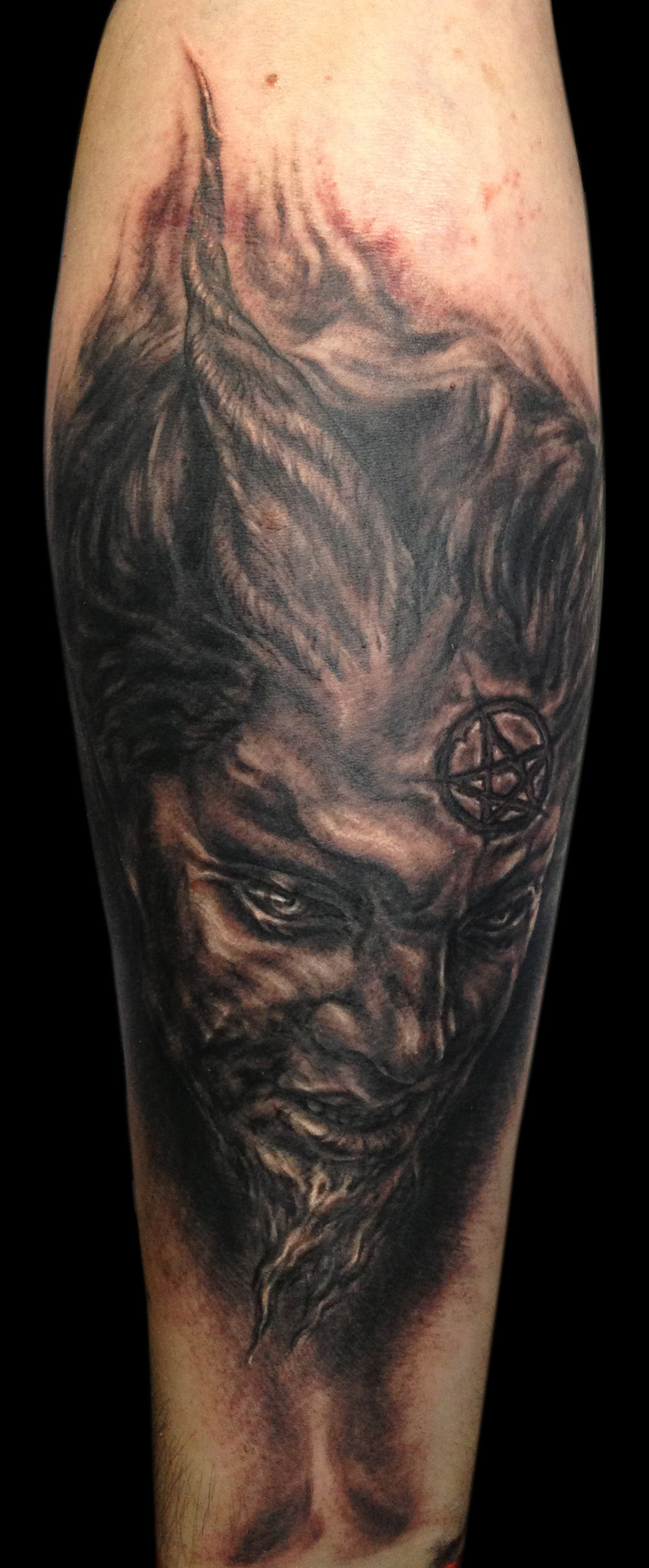 Black and Grey Devil Face Tattoo, (fresh) International Brussels Tattoo Convention, Belgium
