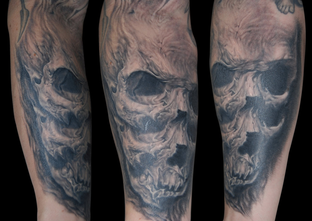 Black and Surreal Horror Skull Tattoo,  (healing in this photo) multi angle