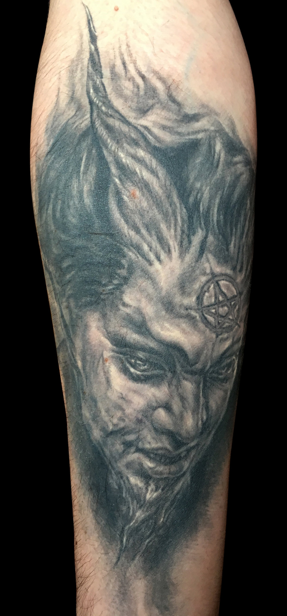 Black and Grey Devil Face Tattoo, (healed) International Brussels Tattoo Convention, Belgium