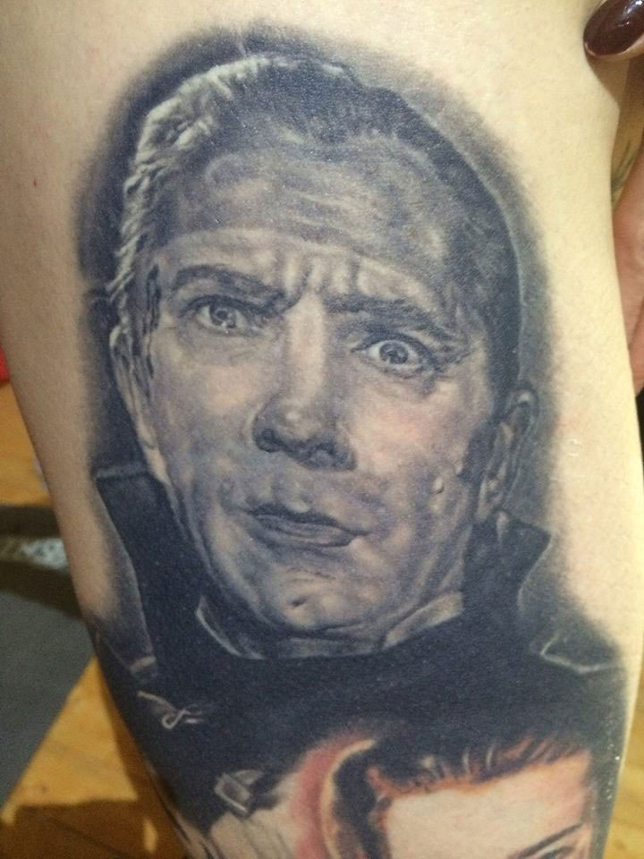 Black and Grey Bela Lugosi Dracula Portrait Tattoo on Lucky Hell, (healed) on hip