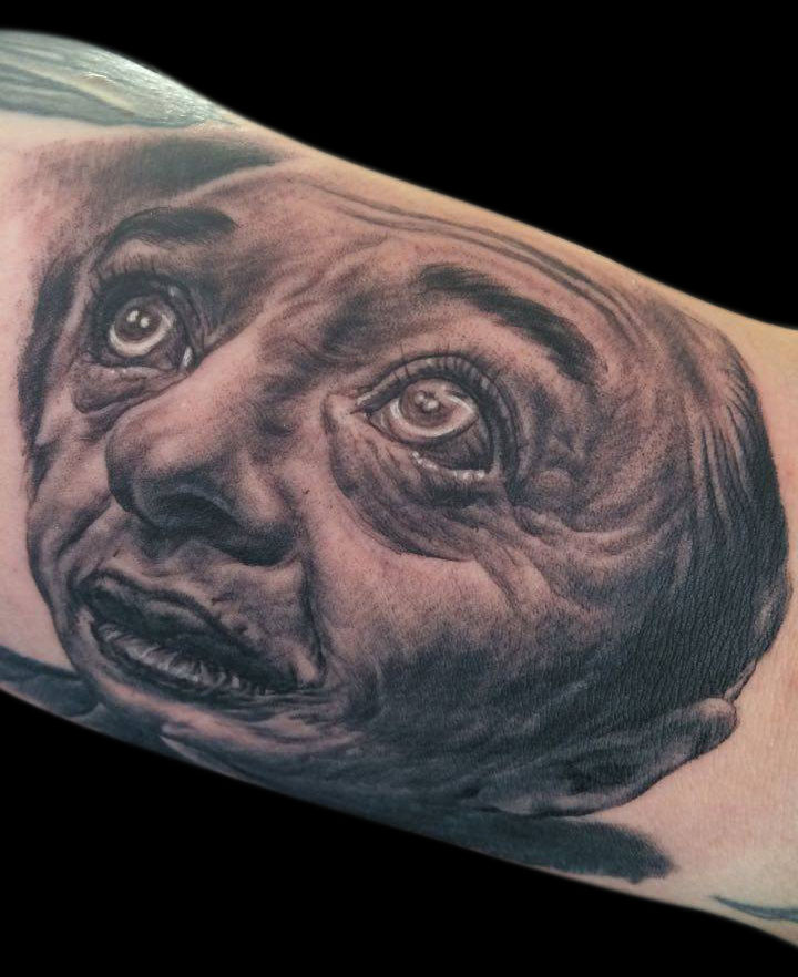 Black and Grey Man From Another Place Twin Peaks Portrait Tattoo, (fresh)