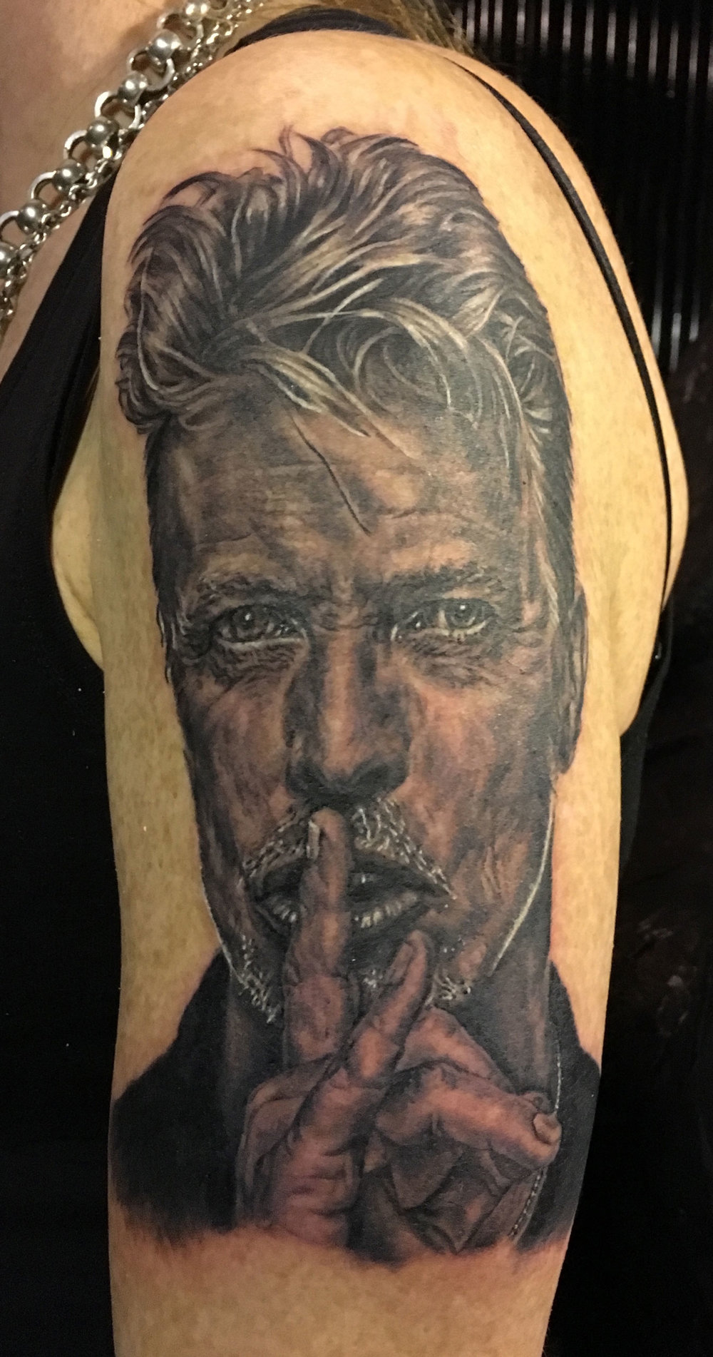 Black and Grey David Bowie Portrait Tattoo, (fresh)