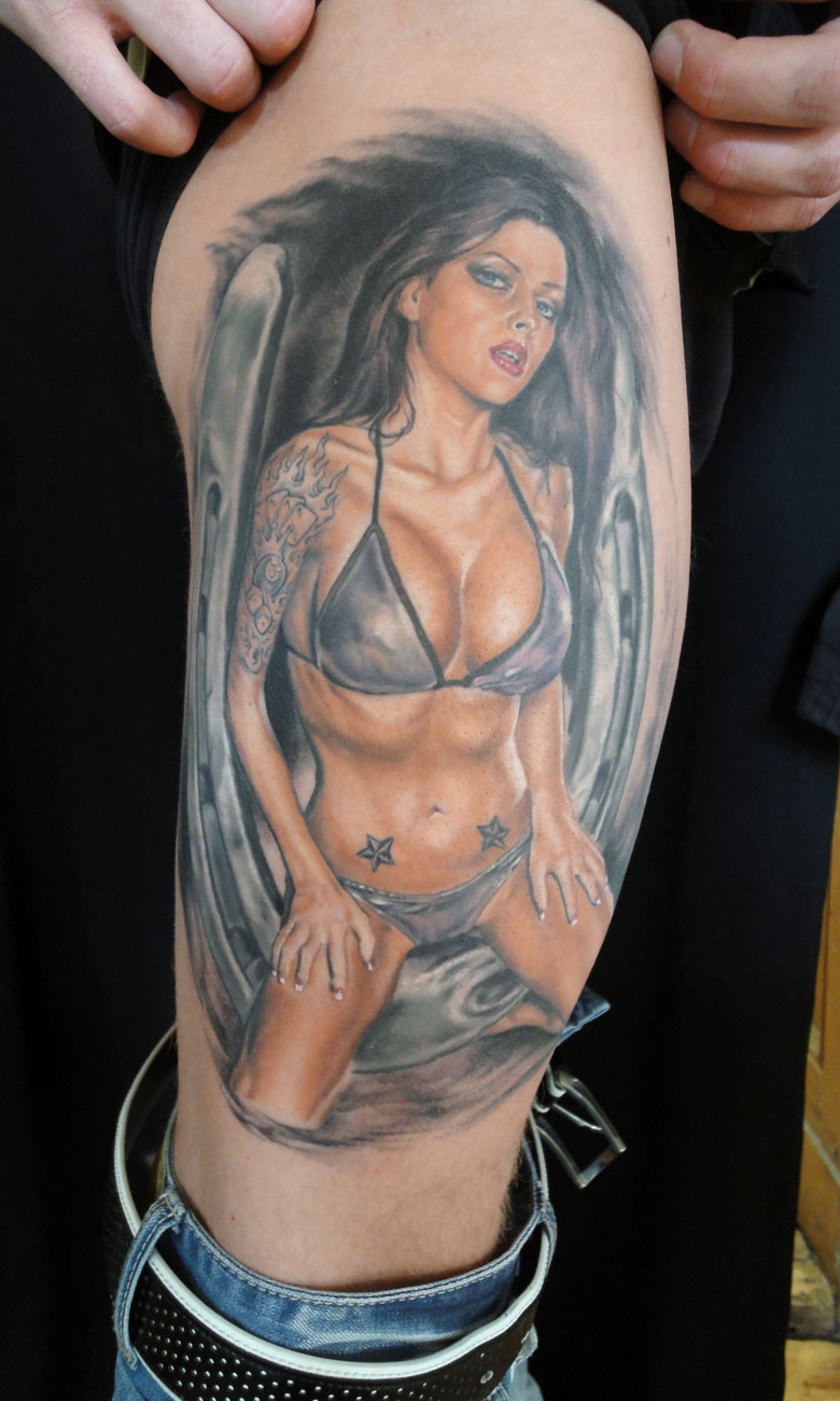 'New School' Tattooed Color Pin Up Tattoo, (healed) thigh