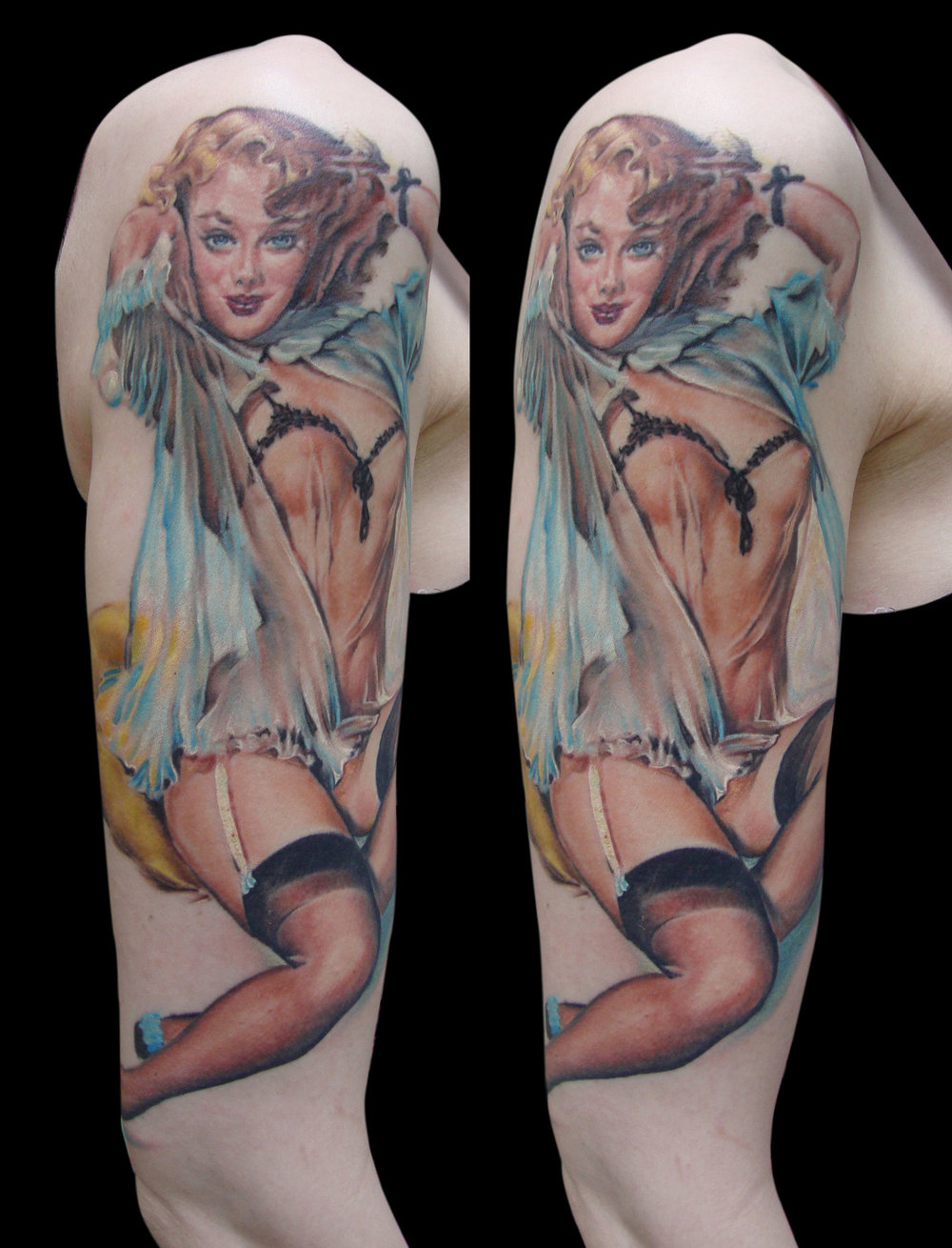 Color Pin Up Tattoo from Elvgren Reference, (flesh tones and figure are healed in this photo, a few white spots, etc. are fresh, photo taken at the end of the final session)