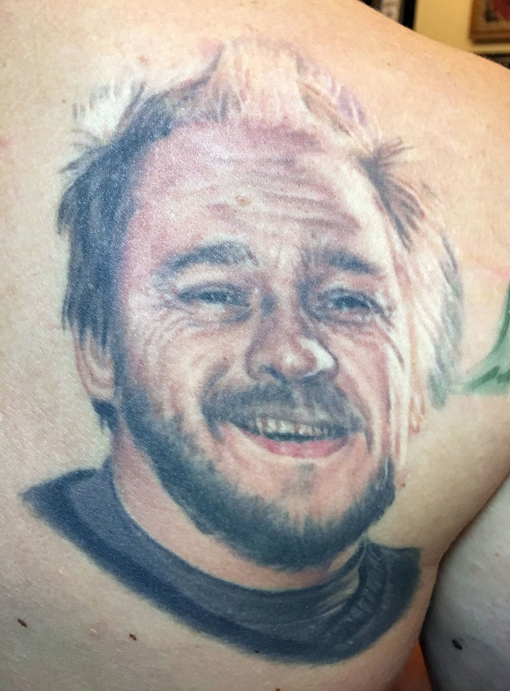 Color Portait Memorial Tattoo of Father, (tattoo is healed and 4 years old in this photo)