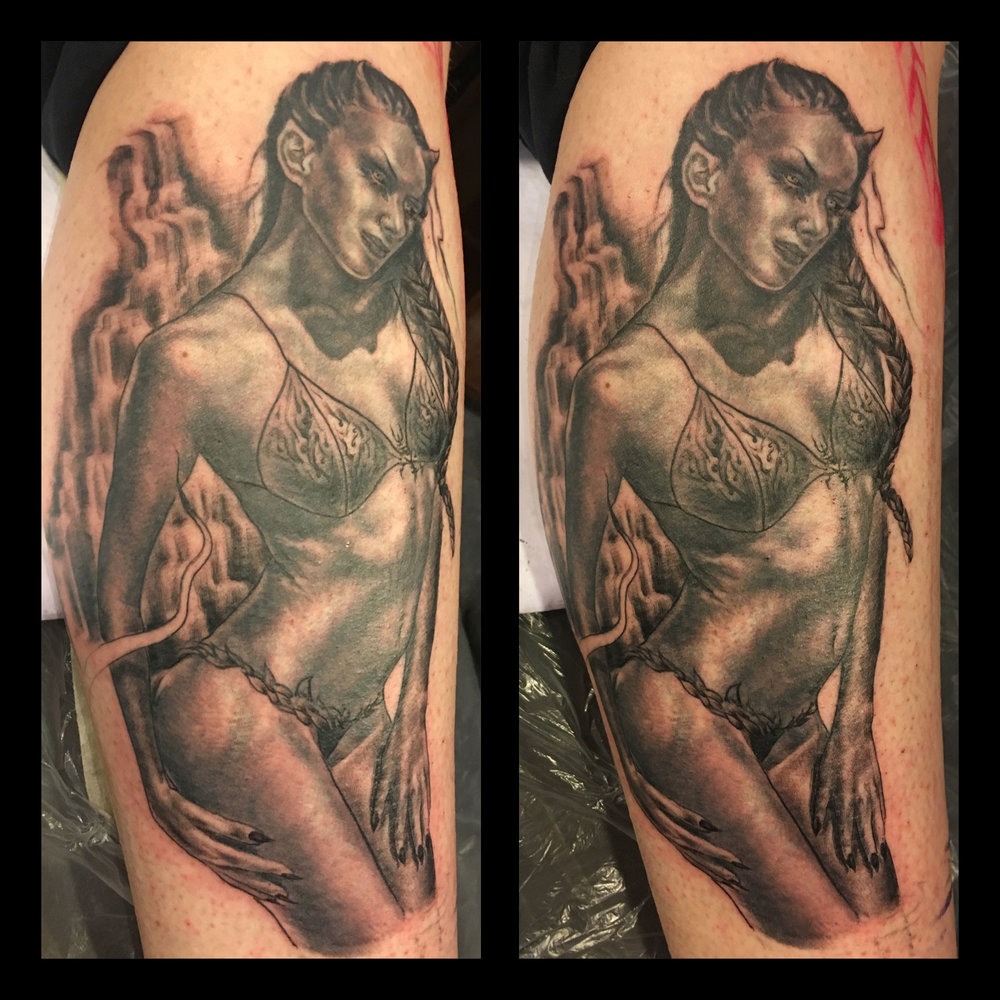 Black and Grey Aquarian Demon Girl Tattoo, calf in progress