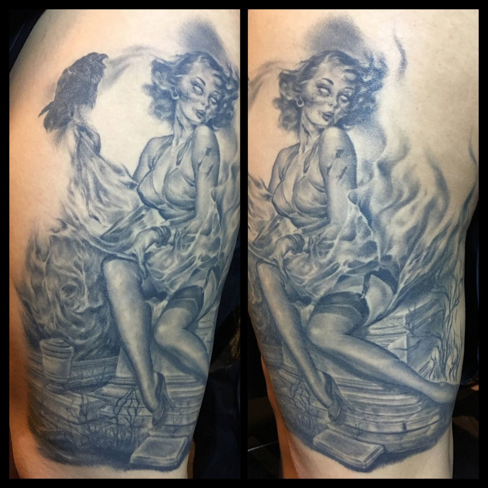 Black and Grey Zombie Graveyard Pin Up Tattoo with Raven   (healed photo before final background session was added with additional tombstones in the cemetery,  more background, etc.)