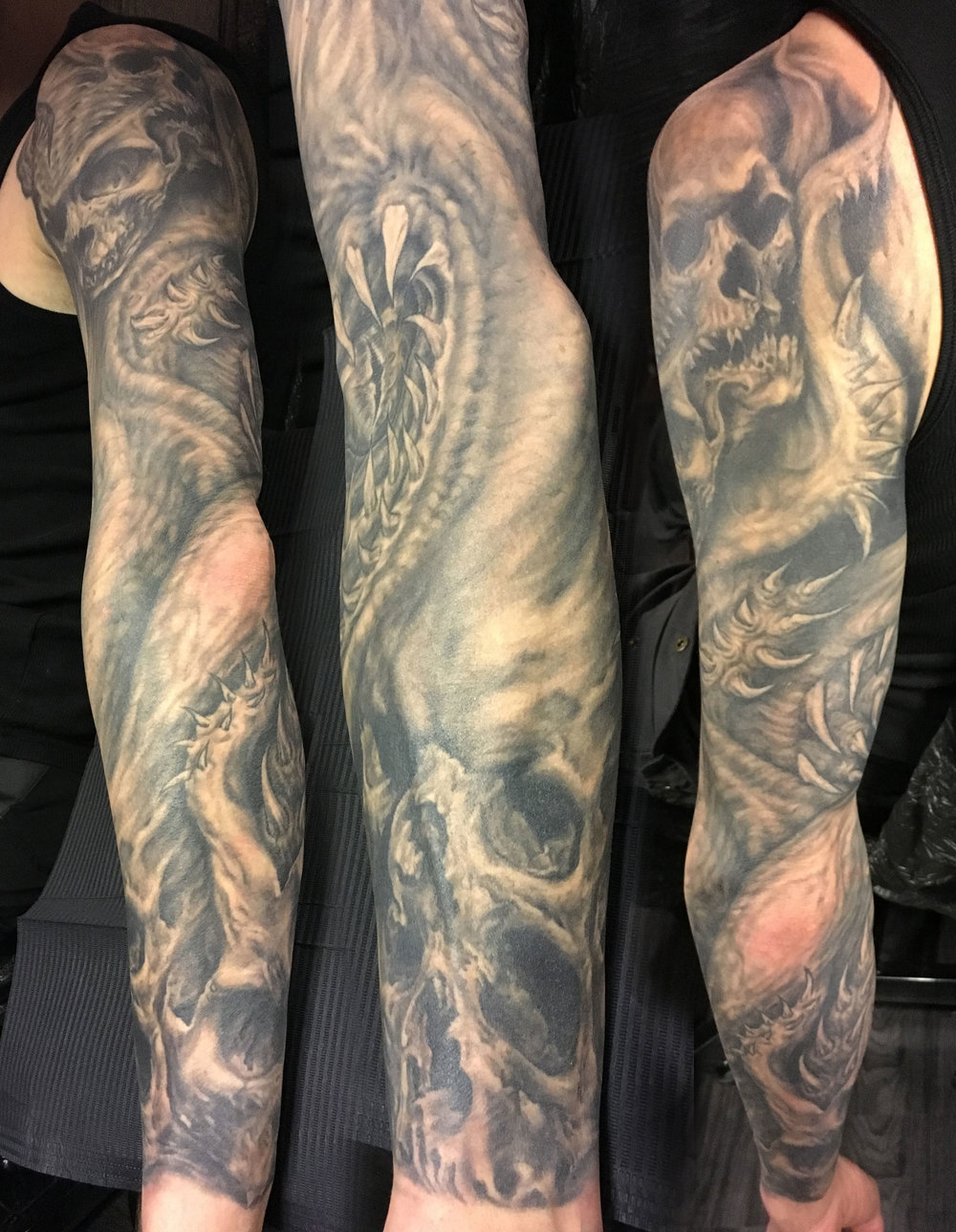 Black and Grey Cthulhu/Skull Sleeve Tattoo,  work in progress
