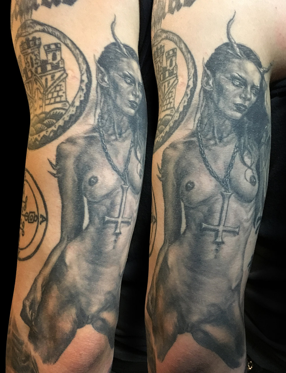 Black and Grey 'Blekk Metal' Demon Chick Tattoo, (healed)