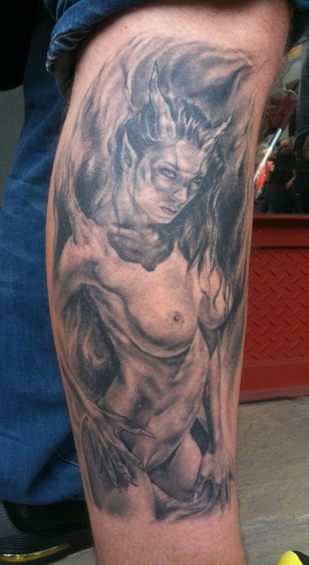Black and Grey Nude Female Demon/Devil Girl Tattoo, (healed)