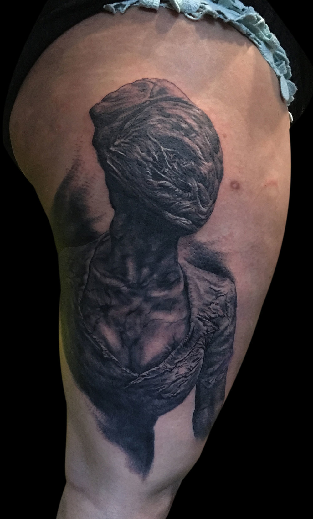 Black and Grey Silent Hill Nurse Horror Portrait Tattoo, (fresh) Le Mondial du Tatouage Convention, Paris, France