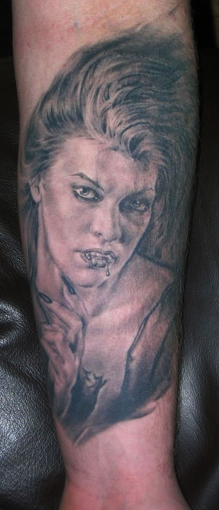 Black and Grey Female Vampire Horror Portrait Tattoo, (healed) 2nd International London Tattoo Convention at Brick Lane, UK