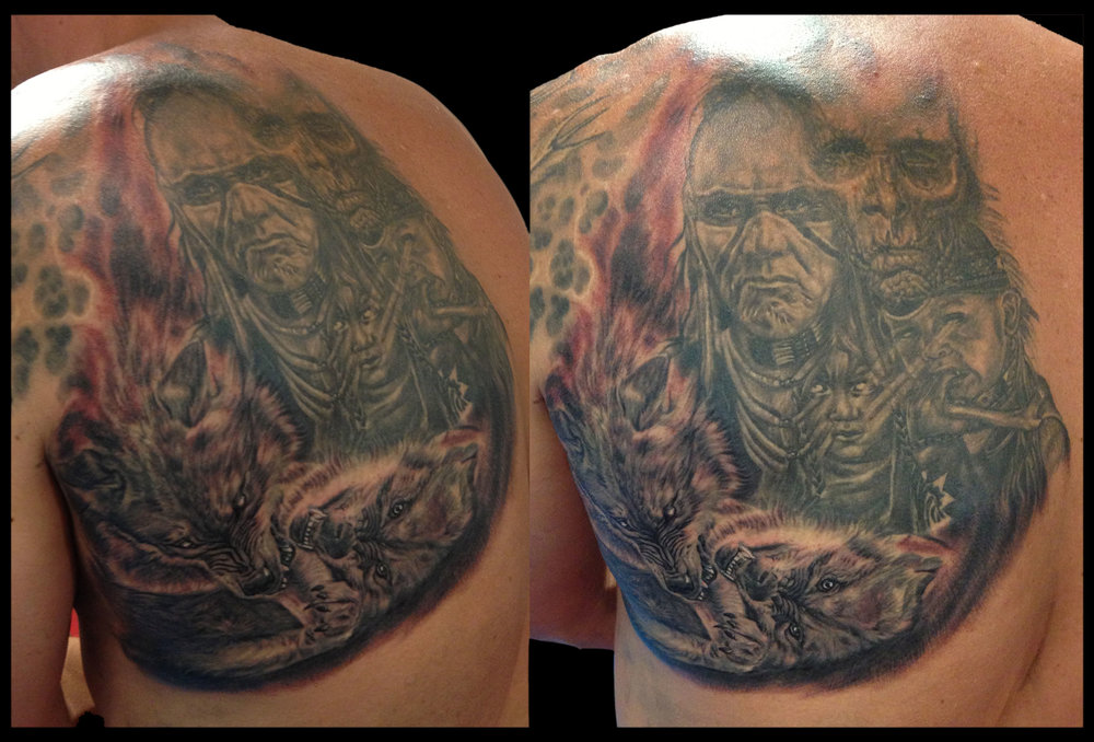 Black and Grey Evil Themed Native American Dark Realism Tattoo with Undead? Fighting Wolves (part fresh, part healed)