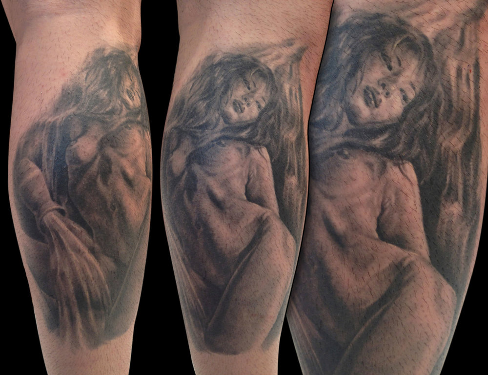 Black and Grey Nude Aquarian Female Figure with Flowing Water Tattoo, (healed) on calf