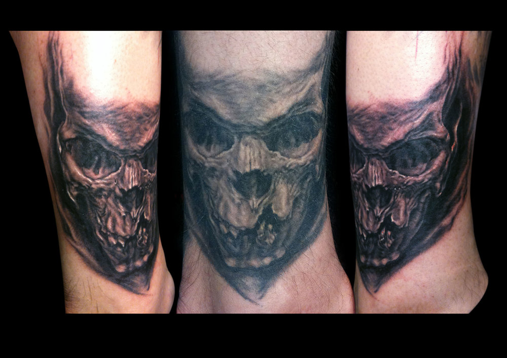 Black and Grey Ankle Skull Tattoo, (center photo is healed, the side photos are fresh)