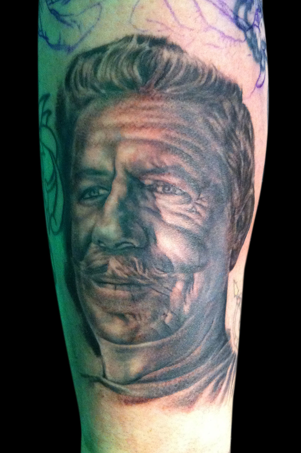 Black and Grey Norman 'Sailor Jerry' Collins Portrait Tattoo, Scottish Tattoo Convention, Edinburgh  Scotland, UK
