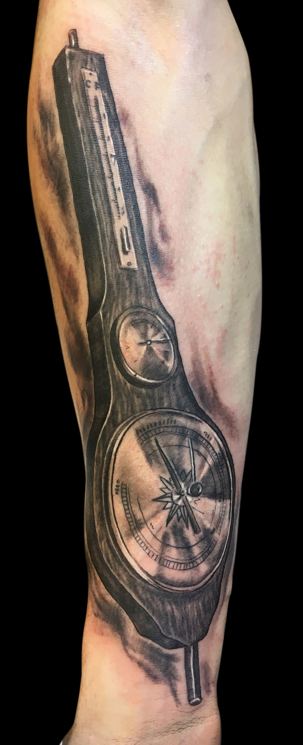 Black and Grey Barometer, Thermometer, Compass Tattoo, (fresh) Antwerp, Belgium