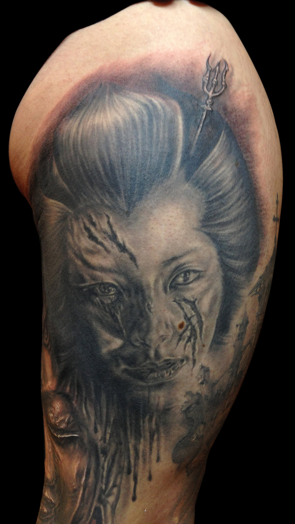 Back and Grey Slashed Geisha Horror Portrait Tattoo, (face is healed in this photo) Zwickau Tattoo Expo, Germany