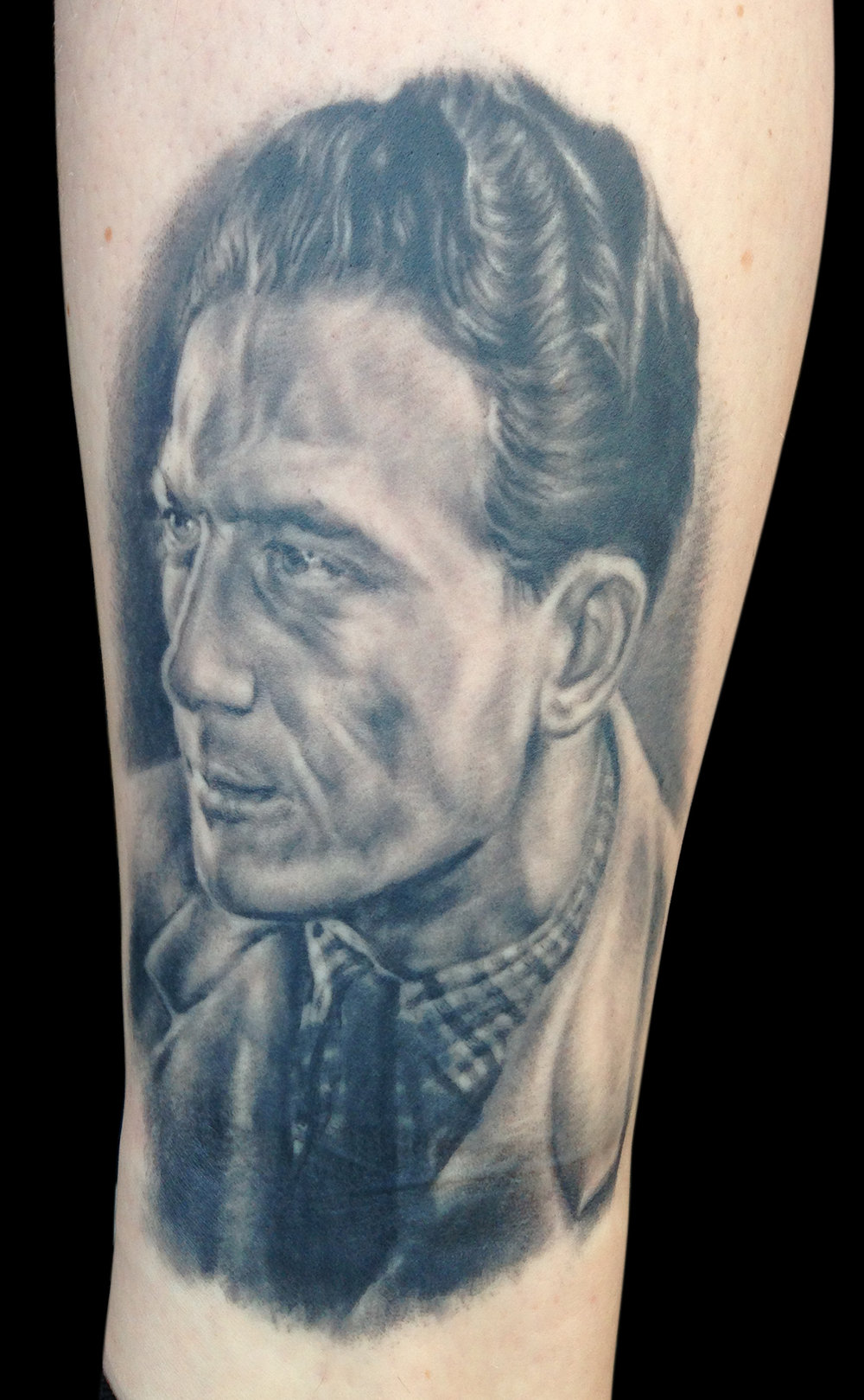 Black and Grey 'Grandpa the Artist and Sailor' Memorial Portrait Tattoo, (healed) tattoo was done at 'Ink for the Oceans' day at Für Immer Tattoo Berlin,  all of the money for the tattoo was donated in support of the charity.