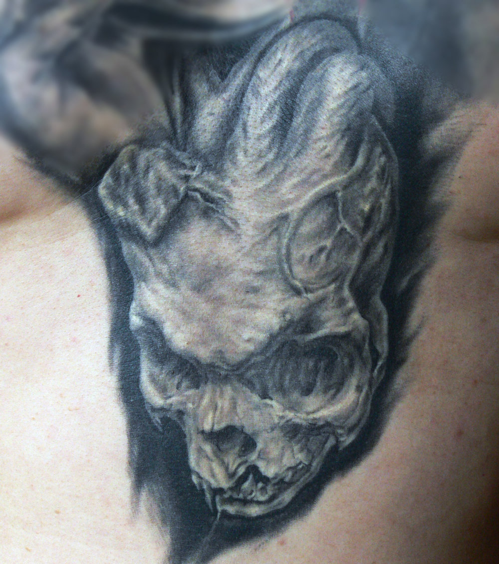 Black and Grey Heart Skull Tattoo, (healed) Tattoo Ink Explosion, Mönchengladbach Tattoo Convention, Germany