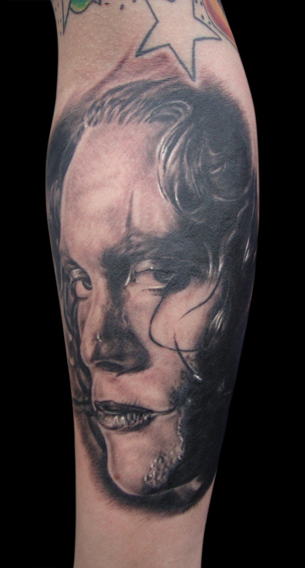 Black and Grey Brandon Lee as The Crow Portrait Tattoo, (fresh)