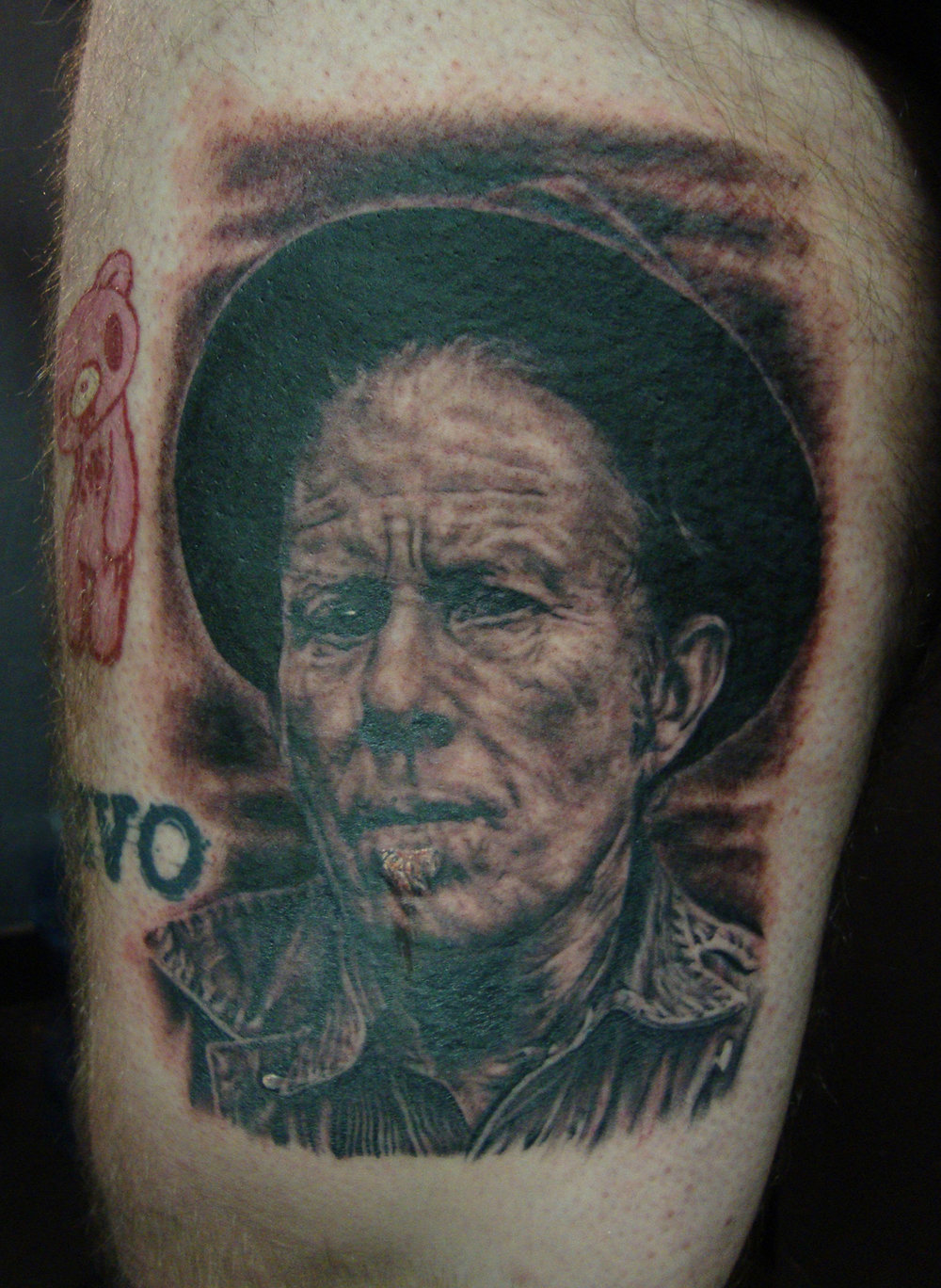 Black and Grey Tom Waits Portrait Tattoo, (fresh)