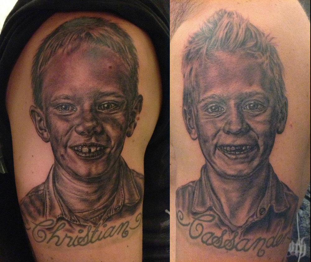 Black and Grey Portrait Tattoo of Sons, one on each arm, (fresh)    (Script not tattooed by me, only the portraits)