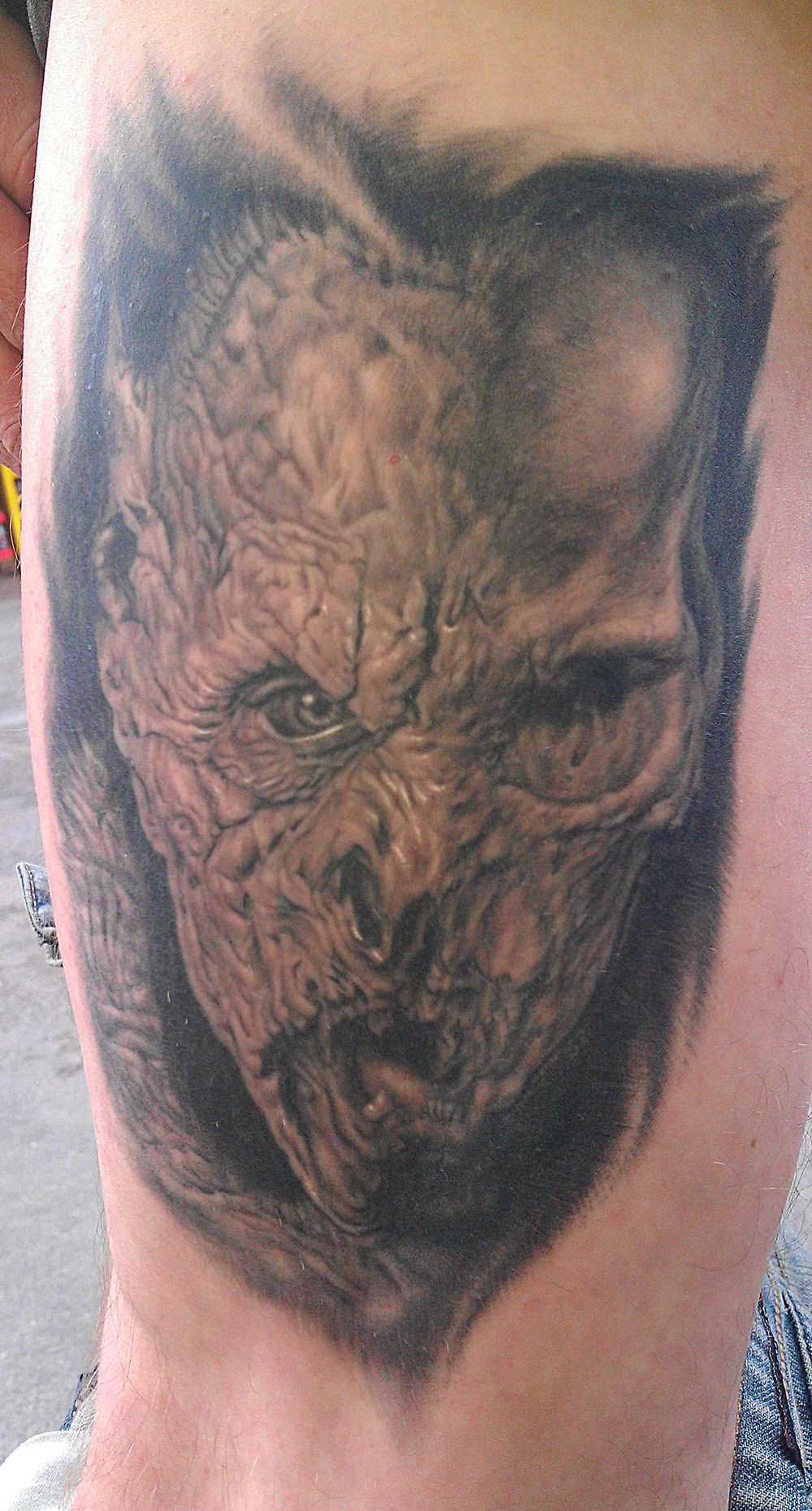 Black and Grey Vampire/Skull Horror Tattoo, (healed) on thigh, Transilvania Tattoo Expo, Romania