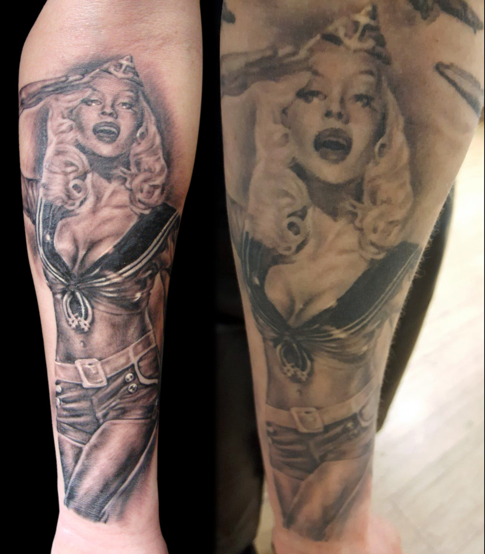 Black and Grey Sailor Pin Up Tattoo, (fresh photo on left- the photo on the right is one that is healed after 7 years that I found online)