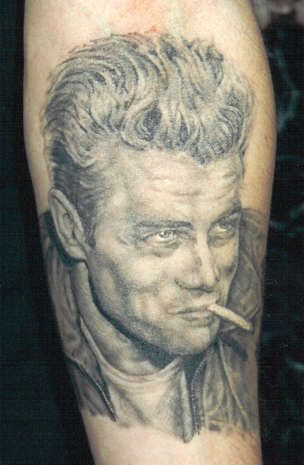 Black and Grey James Dean Portrait Tattoo, (healed) tattooed in 2000