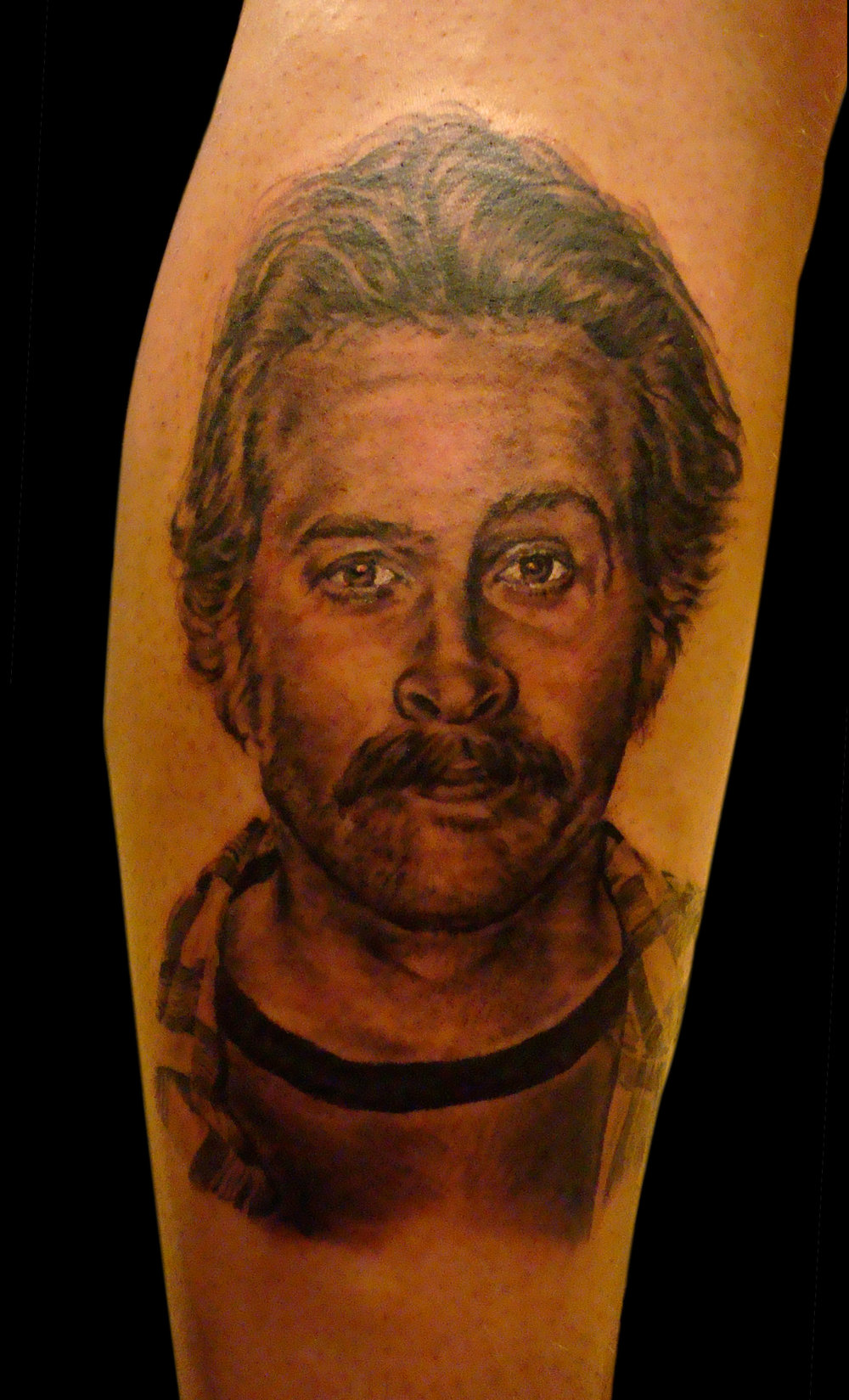 Black and Grey Jason Lee 'My Name Is Earl' Portrait Tattoo, (fresh)