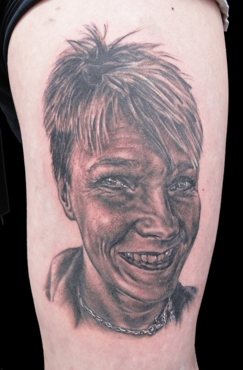 Black and Grey Portrait Tattoo on Thigh, (fresh) Oslo tattoo Convention, Norway