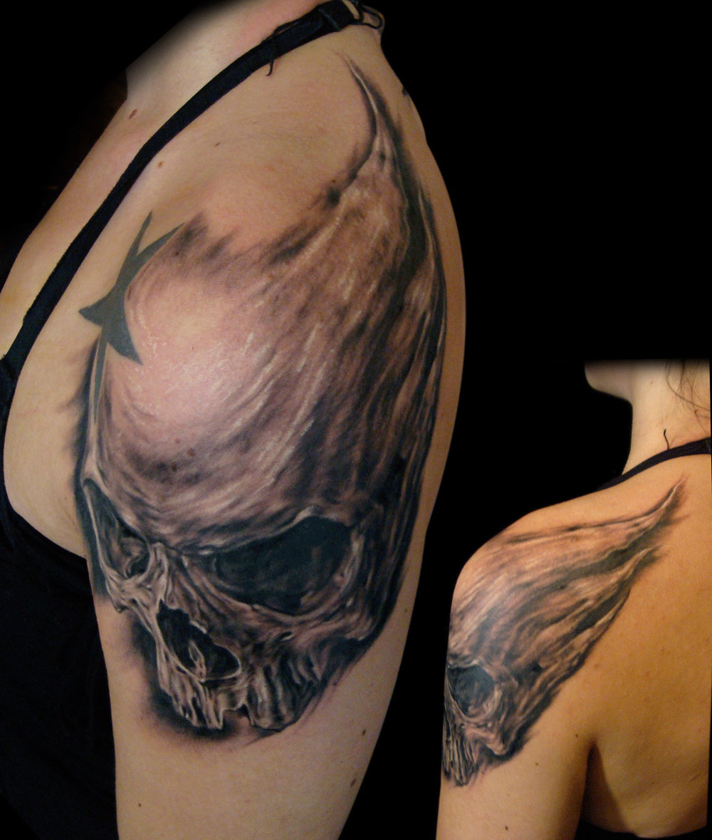 Black and Grey 'Spiked Shoulder Swoosh' Skull Tattoo, (fresh)