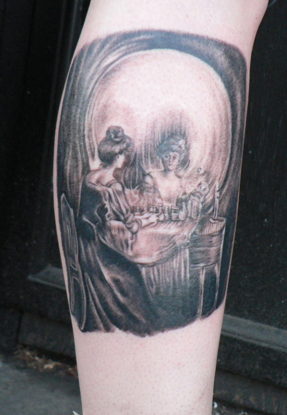 Black and Grey 'Vanity' Skull Tattoo, (fresh)