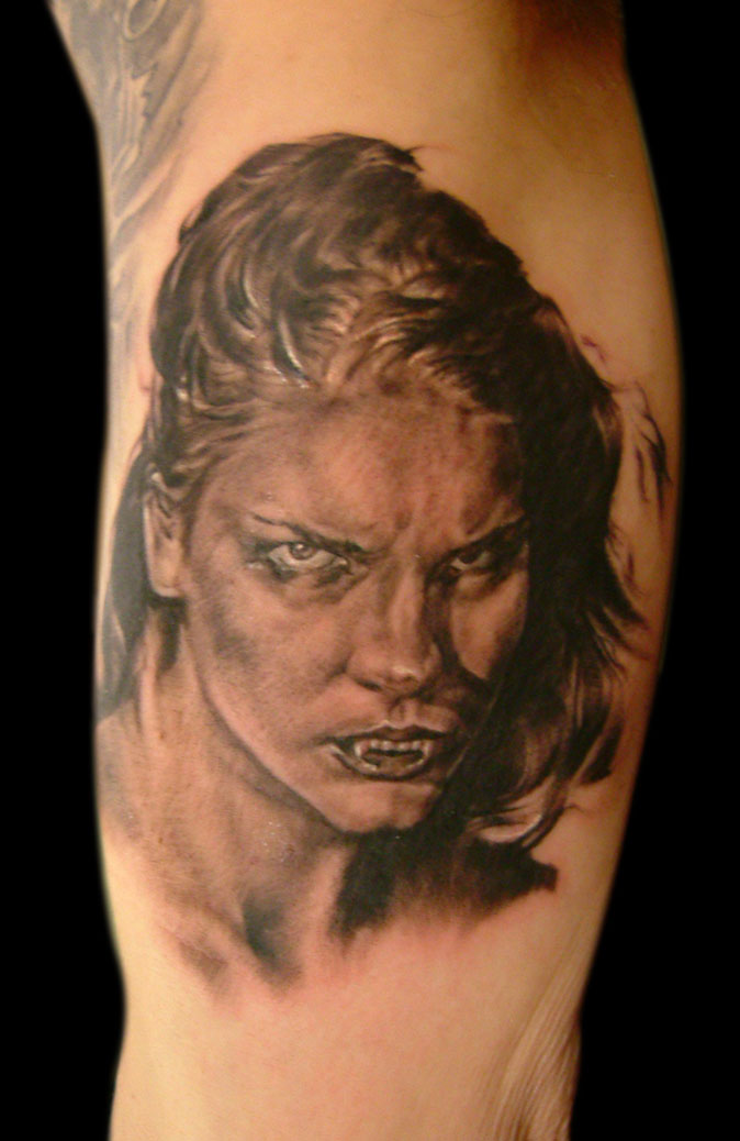 Black and Grey Vampire Girl Horror Portrait Tattoo, (fresh) Madrid Tattoo Convention 2005, Spain