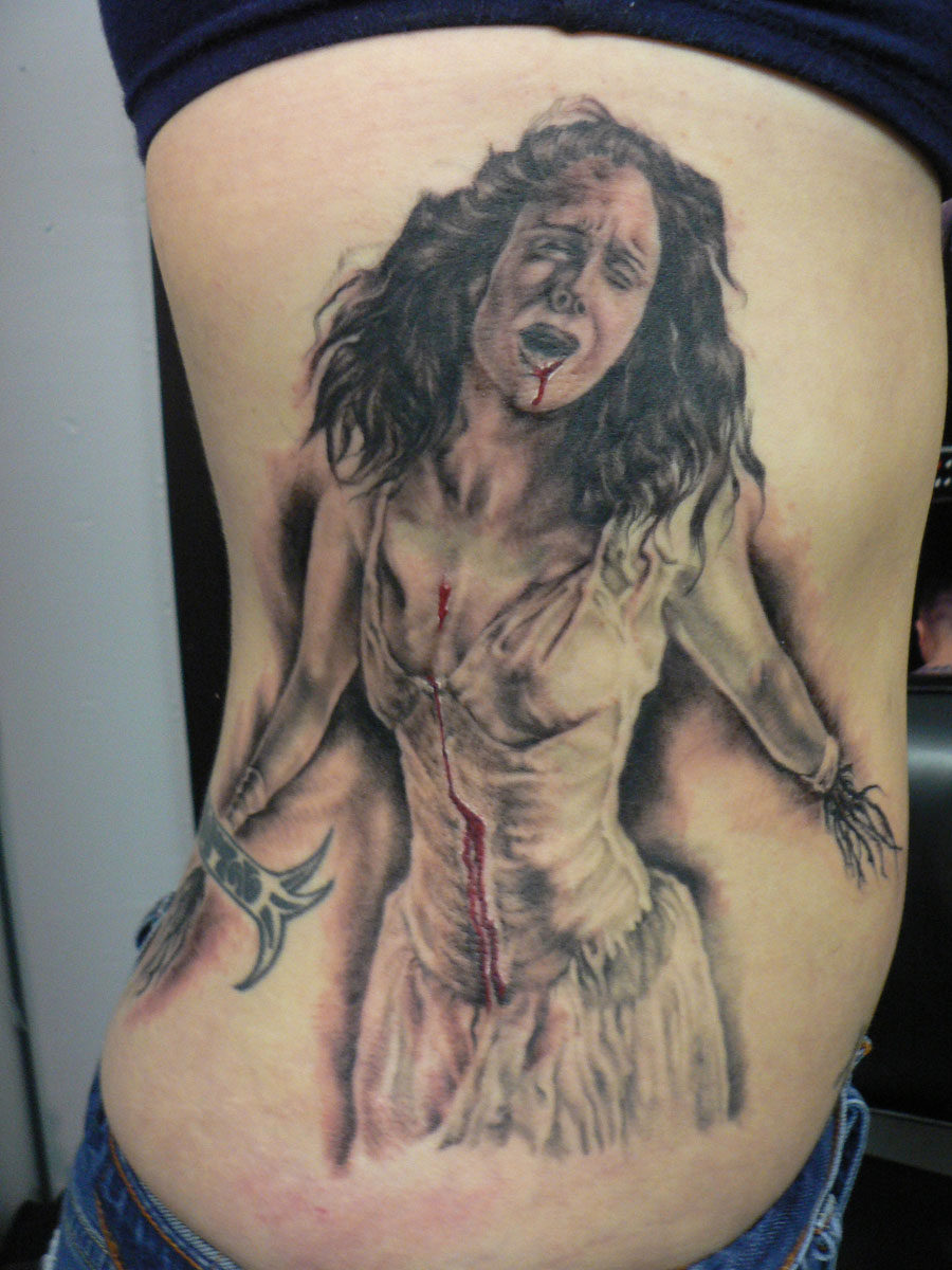 Black and Grey 'Agony of Lavinia' Tattoo from film 'Titus', tattooed in 2006
